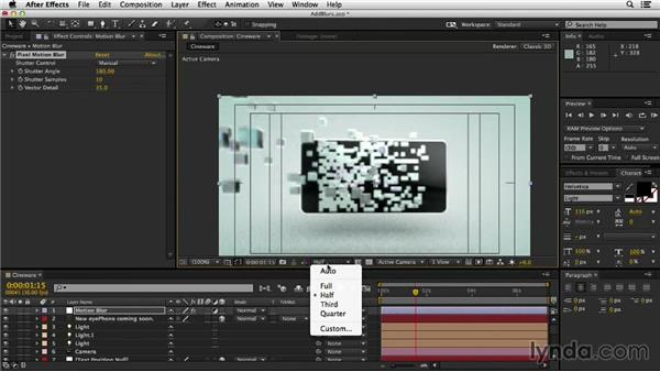 Adding depth-of-field blur, motion blur, and color correction: Mograph Techniques: Morphing Particles in CINEMA 4D