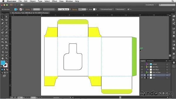 Reading a dieline (cut vs. fold indicators, flaps, etc.): Print Production Essentials: Packaging