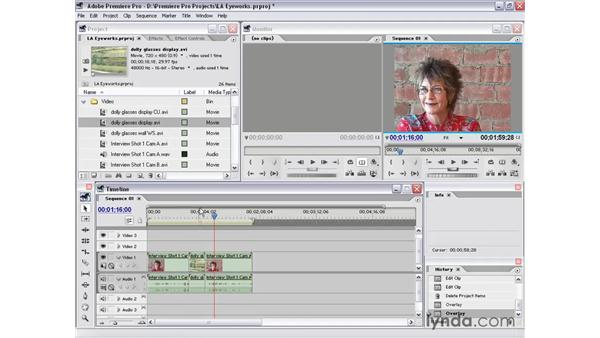 assets to timeline - project window: Premiere Pro 1.5 Essential Training