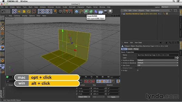 Modeling a seamless backdrop: Studio Lighting in CINEMA 4D