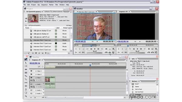 assets to timeline - source view: Premiere Pro 1.5 Essential Training