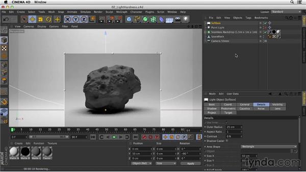 Adjusting light hardness to make textures pop: Studio Lighting in CINEMA 4D