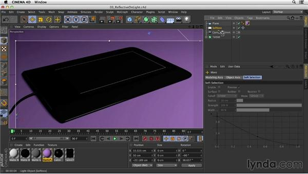 Rendering reflective objects on a light background: Studio Lighting in CINEMA 4D