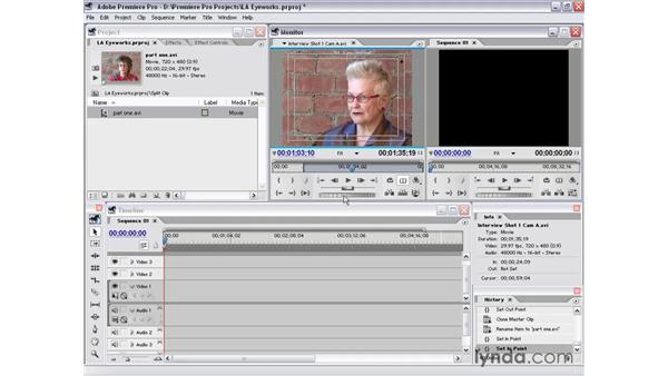 split clips in the source view: Premiere Pro 1.5 Essential Training