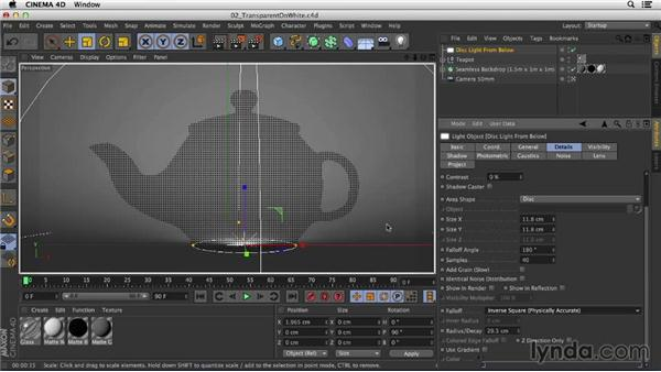 Shooting glass on a light background: Studio Lighting in CINEMA 4D