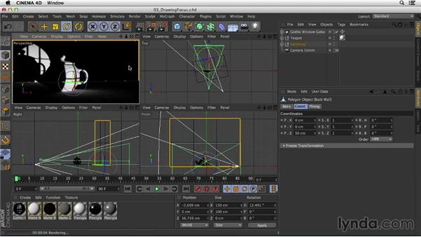 Using lights with gobos to draw focus: Studio Lighting in CINEMA 4D