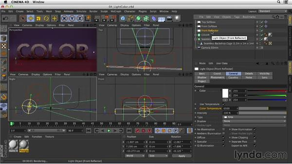 Changing light color for dramatic effects: Studio Lighting in CINEMA 4D