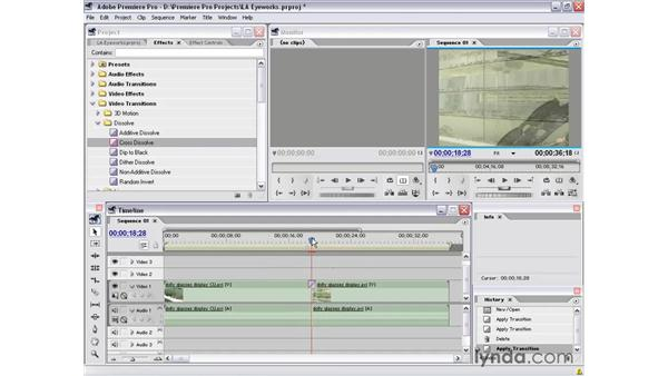 setting the default transition: Premiere Pro 1.5 Essential Training