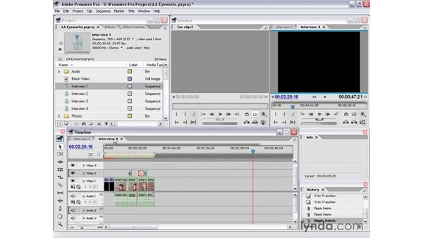 cleaning up sequences: Premiere Pro 1.5 Essential Training