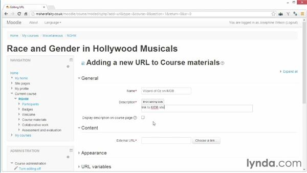 Linking to a useful website: Moodle 2.5 Essential Training