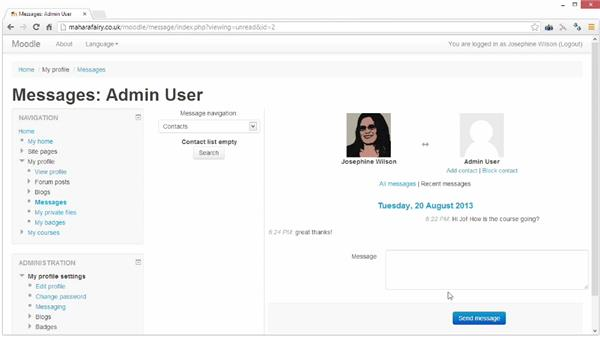 Setting up messaging: Moodle 2.5 Essential Training
