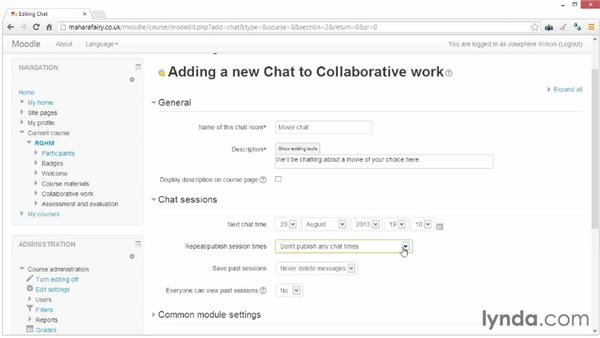 Setting up a chat room: Moodle 2.5 Essential Training