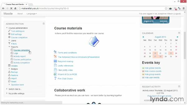 Viewing completion reports: Moodle 2.5 Essential Training