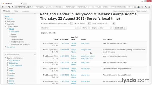 Viewing reports and logs: Moodle 2.5 Essential Training