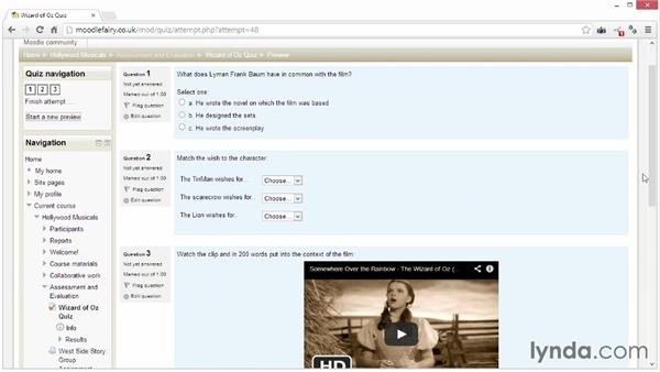 Overview of Moodle's quiz: Moodle 2.4 Essential Training