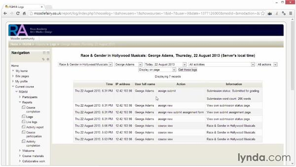 Viewing reports and logs: Moodle 2.4 Essential Training