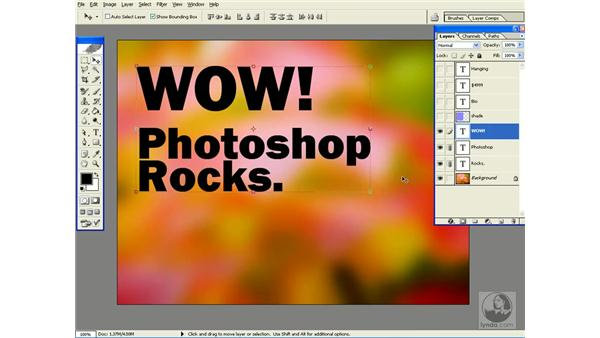 changing type size and color: Photoshop CS Power Shortcuts