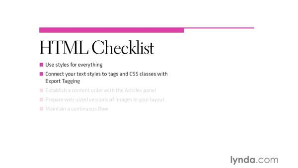 HTML preparation checklist: InDesign CS6 to HTML