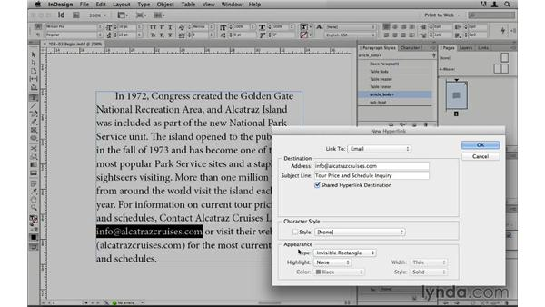 Adding hyperlinks to text: InDesign CS6 to HTML