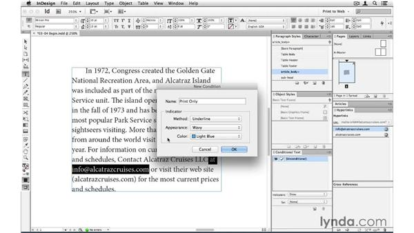 Taking advantage of conditional text: InDesign CS6 to HTML
