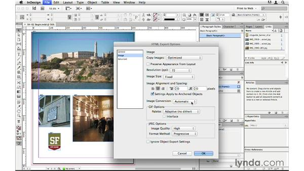 Exporting optimized images: InDesign CS6 to HTML