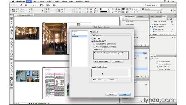 Exporting with custom CSS and JavaScript: InDesign CS6 to HTML