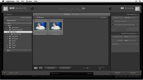 Using the exercise files: Enhancing a Black-and-White Wedding Photo with Lightroom