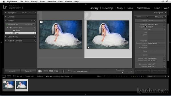 Making a virtual copy: Enhancing a Black-and-White Wedding Photo with Lightroom