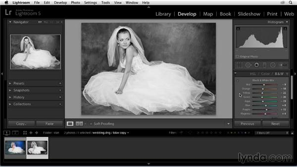 Converting to black and white: Enhancing a Black-and-White Wedding Photo with Lightroom