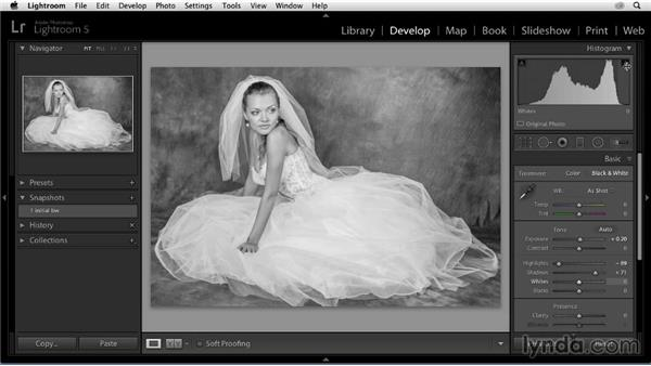 Adjusting tonal values in the Basic panel: Enhancing a Black-and-White Wedding Photo with Lightroom