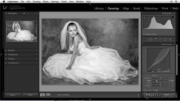 Fine-tuning with a tone curve: Enhancing a Black-and-White Wedding Photo with Lightroom