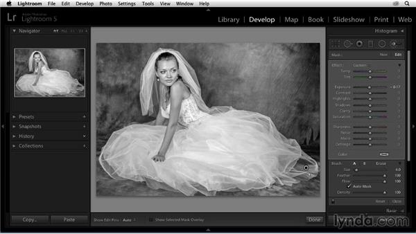 Bringing out detail in the wedding dress: Enhancing a Black-and-White Wedding Photo with Lightroom