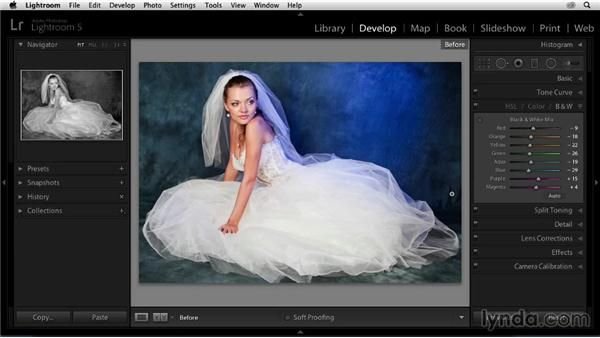 Adjusting colors in the HSL panel: Enhancing a Black-and-White Wedding Photo with Lightroom