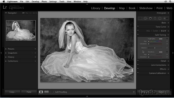 Tinting the black-and-white photo: Enhancing a Black-and-White Wedding Photo with Lightroom