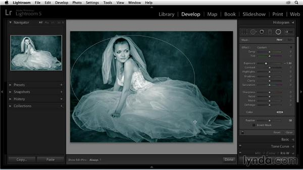 Adding a vignette: Enhancing a Black-and-White Wedding Photo with Lightroom