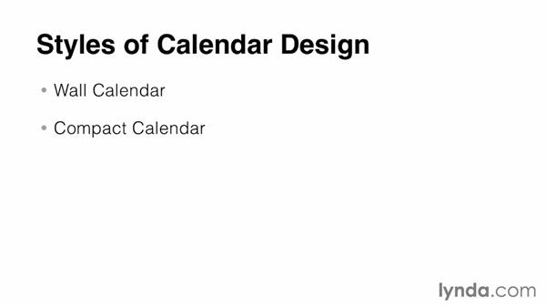 Styles of calendar design: Designing a Calendar