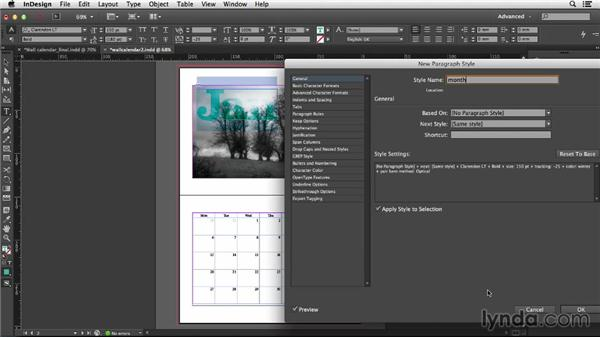 Adding transparency with paragraph and object styles: Designing a Calendar