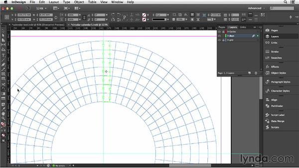 Threading text frames around a circular grid: Designing a Calendar