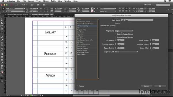 Editing the paragraph styles: Designing a Calendar