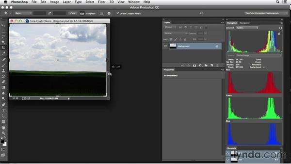 Straightening an image: Photoshop Color Correction: Fundamentals