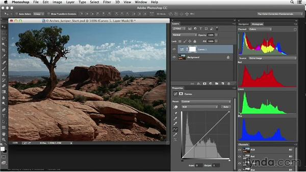 Evaluating and correcting highlights in a landscape: Photoshop Color Correction: Fundamentals