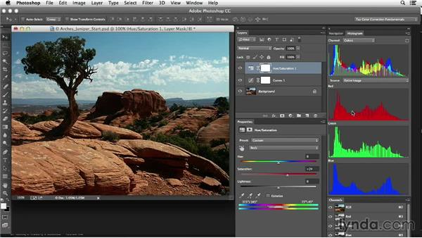 Adding saturated postcard-style color enhancements: Photoshop Color Correction: Fundamentals