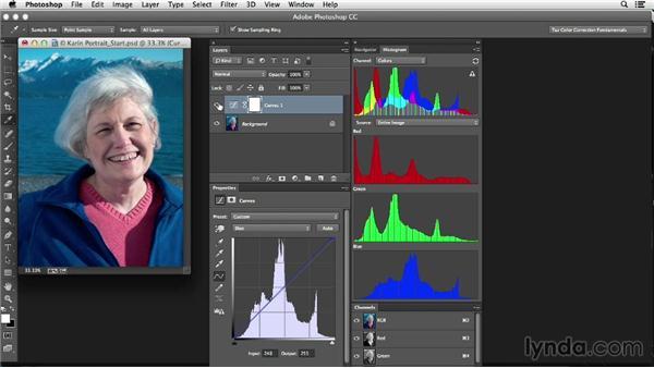 Evaluating skin tones and making basic corrections: Photoshop Color Correction: Fundamentals