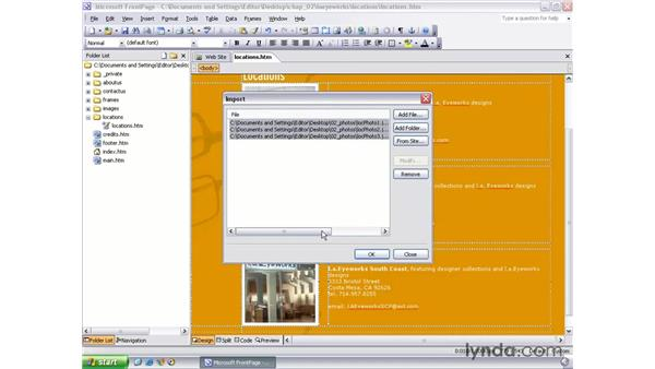 importing files and folders: FrontPage 2003 Essential Training