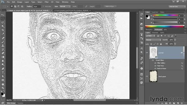 Converting an image to etched outlines: Photoshop CC One-on-One: Mastery