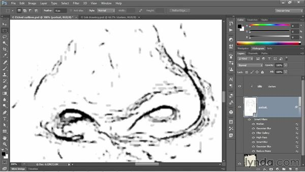 """Turning those outlines into """"digital ink"""": Photoshop CC One-on-One: Mastery"""