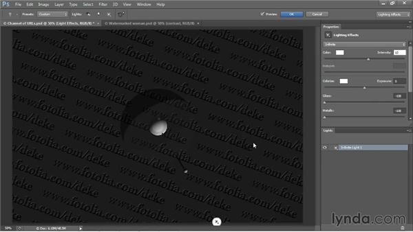 Lighting a watermark texture map: Photoshop CC One-on-One: Mastery