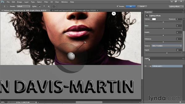 Creating raised credit-card-style letters: Photoshop CC One-on-One: Mastery
