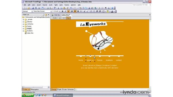 creating links: FrontPage 2003 Essential Training