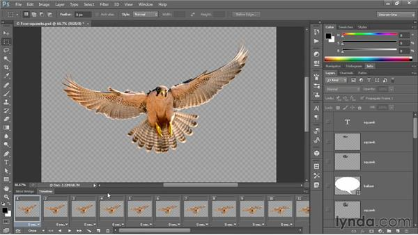 Converting layers into animated frames: Photoshop CC One-on-One: Mastery